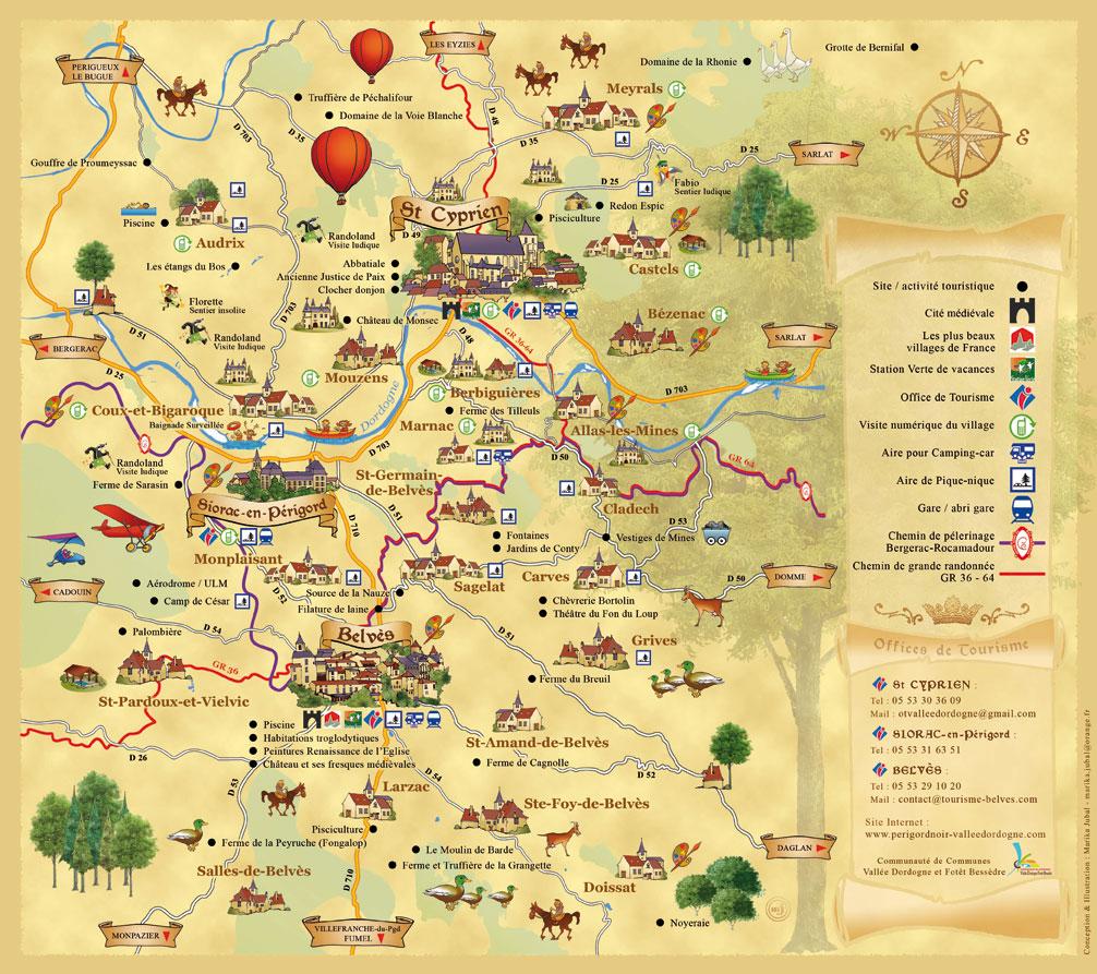 Info dordogne carte touristique for Carte touristique